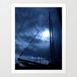 sunset and sailing Art Print