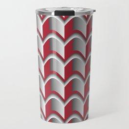 Abstract Red&Grey Pattern Travel Mug