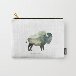 Buffalo Bison / Roam Wanderlust Adventure Travel / Rustic Woodland / Nursery / Gift / Watercolor Carry-All Pouch