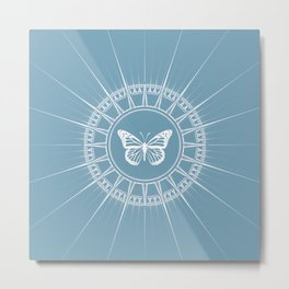 Powder Blue and White Butterfly Design Metal Print