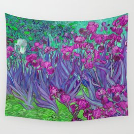 Vincent Van Gogh Irises Painting Violet Fuchsia Palette Wall Tapestry