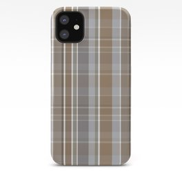 Winter, Plaid, Brown and Grey iPhone Case