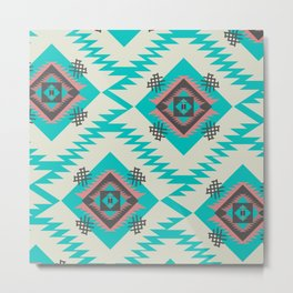 Turquoise ethnic shapes Metal Print