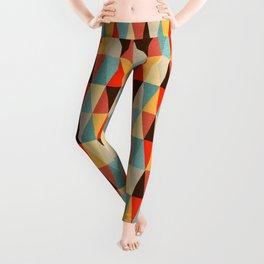 Red & Brown Geometric Triangle Pattern Leggings