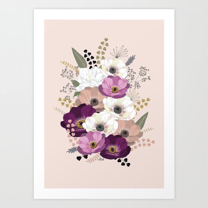 Anemones \u0026 Gardenia floral bouquet Art Print