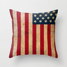 Vintage American Flag Throw Pillow