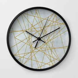 Golden Faux Glitter Lines On Teal Grey Wall Clock