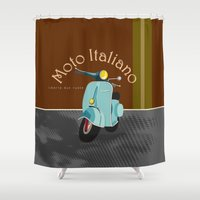 moto Shower Curtains featuring Moto Italiano by DavidERobinson