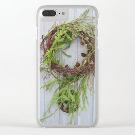 Rustic wreath on gray door Clear iPhone Case