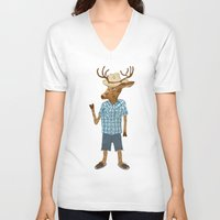country V-neck T-shirts featuring Country deer by Santiago Uceda