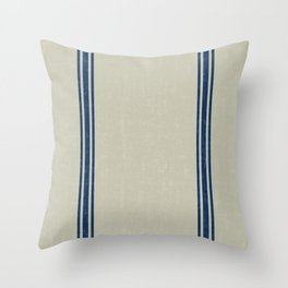 Blue Stripes on Linen color background French Grainsack Distressed Country Farmhouse Throw Pillow