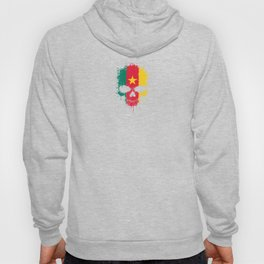 Flag of Cameroon on a Chaotic Splatter Skull Hoody