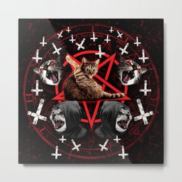 satanic cat pentagram death black metal band exorcist Metal Print