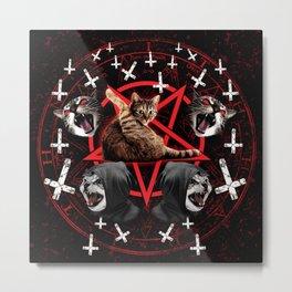 satanic cat pentagram death black metal band exorcist Metal Print