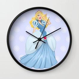 Princess Cinderella In Blue Dress Wall Clock