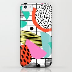 Posse - 1980's style throwback retro neon grid pattern shapes 80's memphis design neon pop art Slim Case iPhone 5c