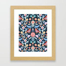 Happy Folk Summer Floral on Navy Framed Art Print