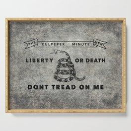 Culpeper Minutemen flag Grungy Serving Tray