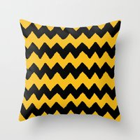 charlie brown Throw Pillows featuring CHARLIE CHEVRON by John Medbury (LAZY J Studios)