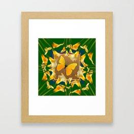 Green Garden Calla Lilies Yellow Butterfly Framed Art Print
