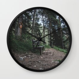 Resting bench on hiking trail in the Alps Wall Clock