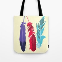 indie Tote Bags featuring Indie Feathers  by Minette Wasserman
