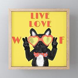 Live Love Woof Dog - Yellow Framed Mini Art Print