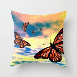 Flying Monarch Butterflies Throw Pillow