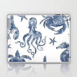 Delft Blue nautical Marine Life pattern, coastal beach Laptop & iPad Skin