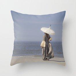 White Parasol Throw Pillow