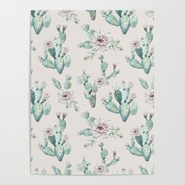 Pretty Cactus Rose Pattern Pale Pink + Green Poster