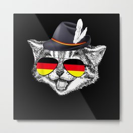 Cute Cat German Flag Oktoberfest Pride Germany Metal Print