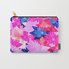Modern navy blue pink purple watercolor floral Carry-All Pouch