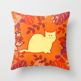 Curious cat, butterflies and leaves Throw Pillow