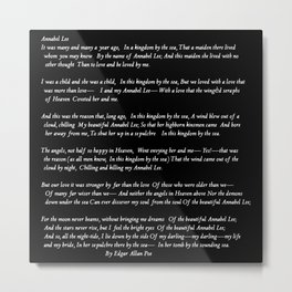 Annabel Lee Edgar Allan Poe black Classic Poem Metal Print