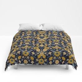 Navy Blue, Turquoise, Cream & Mustard Yellow Dark Floral Pattern Comforters