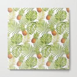 Pineapple and Palms Metal Print