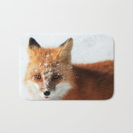 Snowy Faced Cheeky Fox with Tongue Out Bath Mat