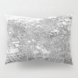 Vintage Pictorial Map of San Antonio TX (1886) BW Pillow Sham