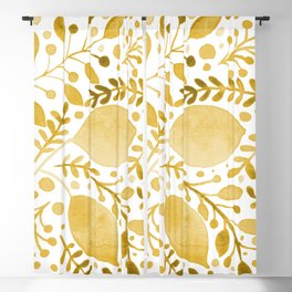 Branches and leaves - yellow Blackout Curtain