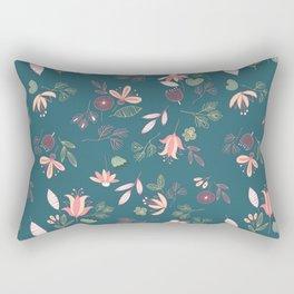 Teal Whimsical Floral Rectangular Pillow