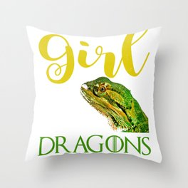 Just a Girl Who Loves Dragons Bearded Dragon Lizard  Throw Pillow