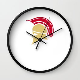 Roman Galea or Helmet in Japanese Red and Yellow Wall Clock