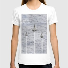 F22 Stealth Fighters Climbing in Clouds T-shirt