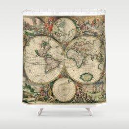 1689 Map of the World by Gerard van Schagen Shower Curtain