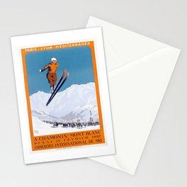 1927 Chamonix - Mont Blanc France Ski Championship Poster Stationery Cards