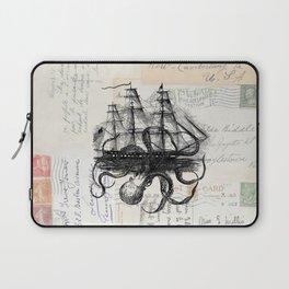 Octopus Kraken Attacking Ship on Old Postcards Laptop Sleeve