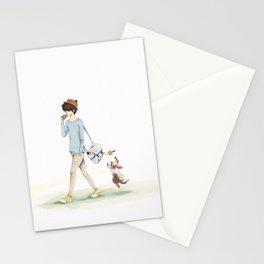 The boy and a cat Stationery Cards