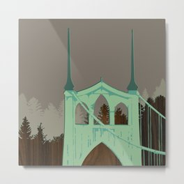 St Johns Bridge, Portland Oregon Metal Print