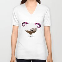 aries V-neck T-shirts featuring Aries by Maria Jose Da Luz